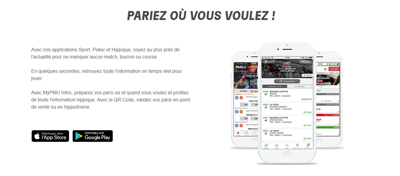 Application PMU: paris sportif.